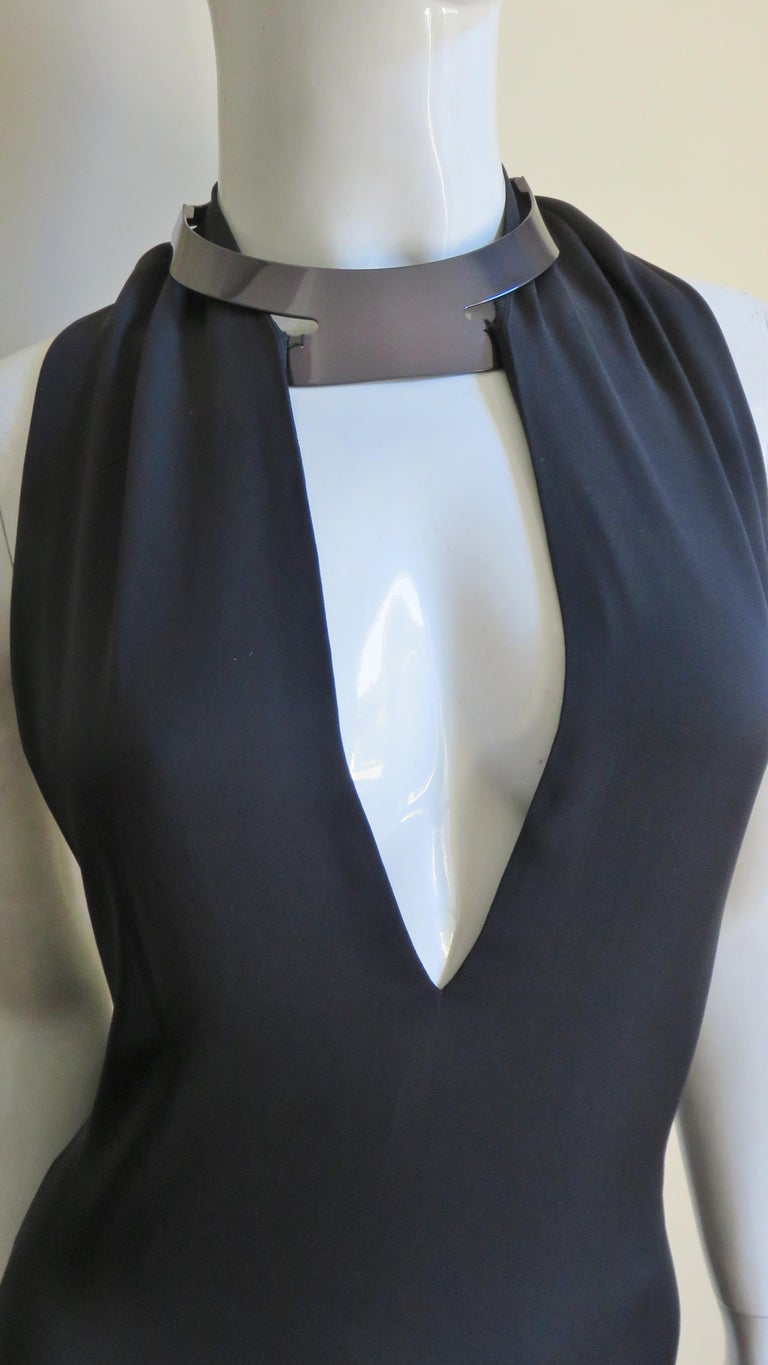 Gucci Backless Silk Halter Gown with Hardware Collar  For Sale 1