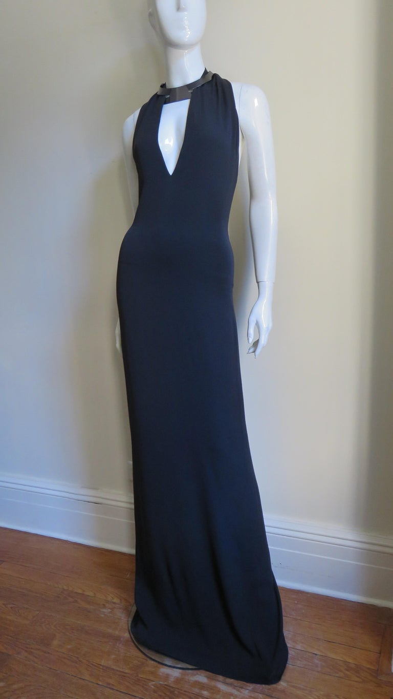 Gucci Backless Silk Halter Gown with Hardware Collar  For Sale 4