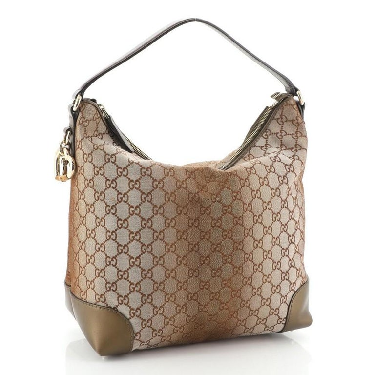 Gucci Heart Bit Hobo Monogram Lurex Medium In Good Condition For Sale In New York, NY