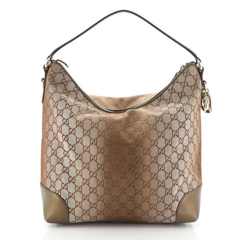 Women's or Men's Gucci Heart Bit Hobo Monogram Lurex Medium For Sale