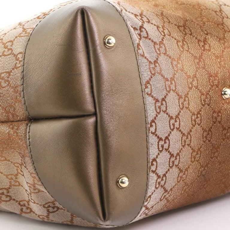 Gucci Heart Bit Hobo Monogram Lurex Medium For Sale 3