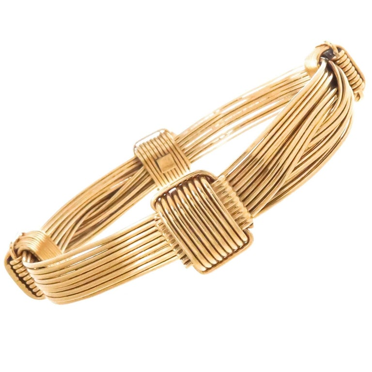 Gucci Heavy Gold Elephant Hair Wire Wrap Bangle Bracelet, 1980s