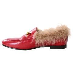 Gucci Hibiscus Red Calfskin Lamb Fur Women's Jordaan Loafers sz 40 rt. $1,100