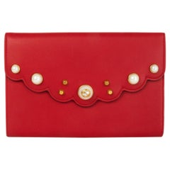GUCCI Hibiscus red leather PEONY PEARL EMBELLISHED Clutch Bag