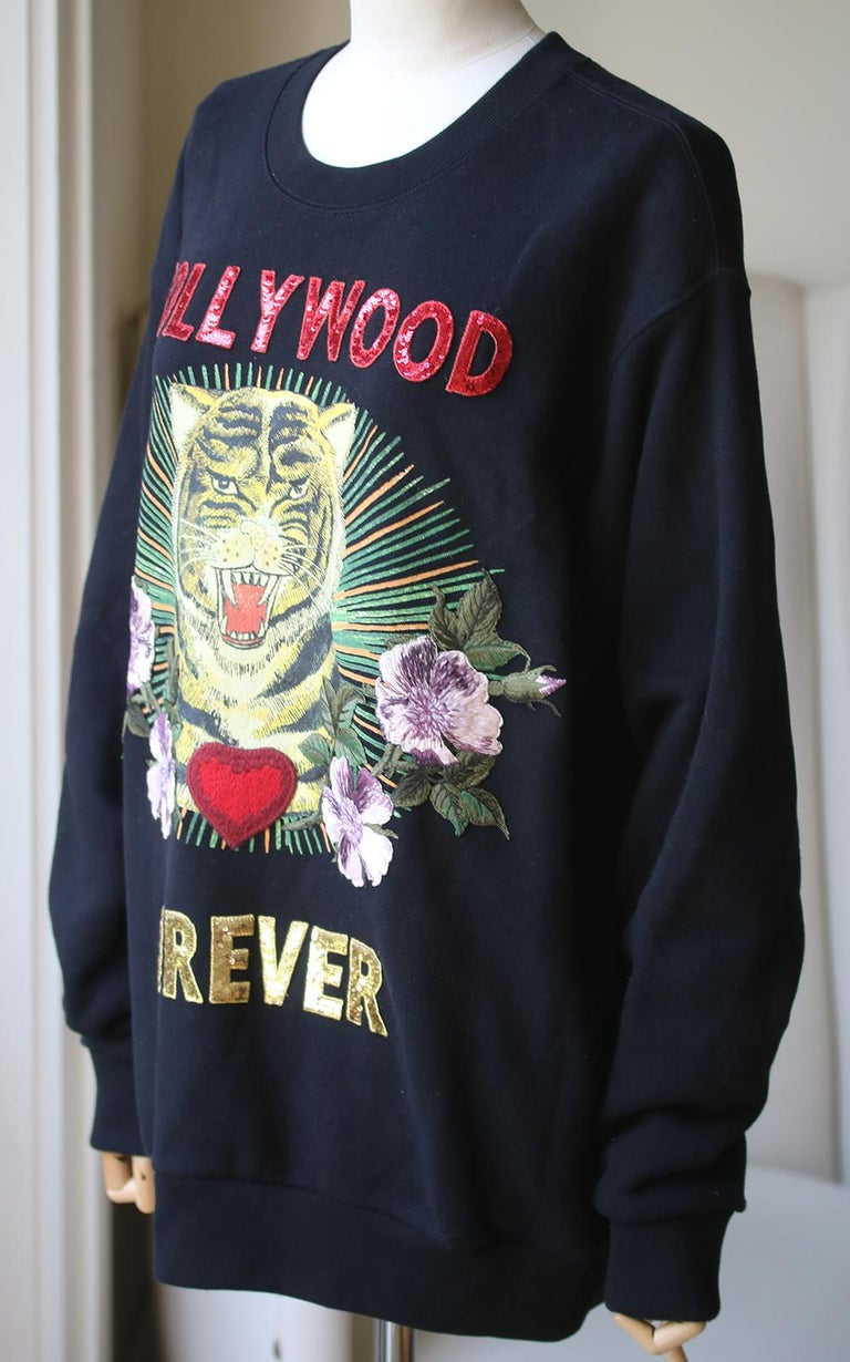 Black Gucci Hollywood Forever Embroidered Cotton-Jersey Sweatshirt  For Sale