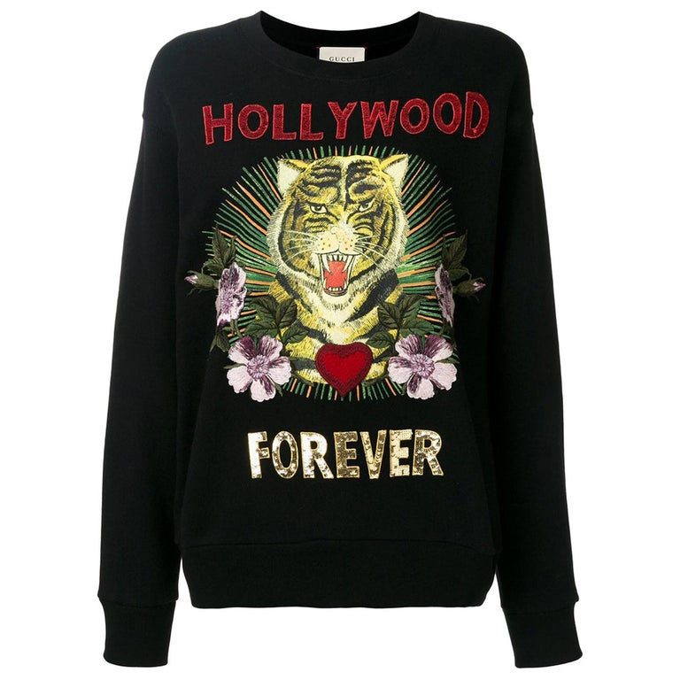 Gucci Hollywood Forever Embroidered Cotton-Jersey Sweatshirt  For Sale
