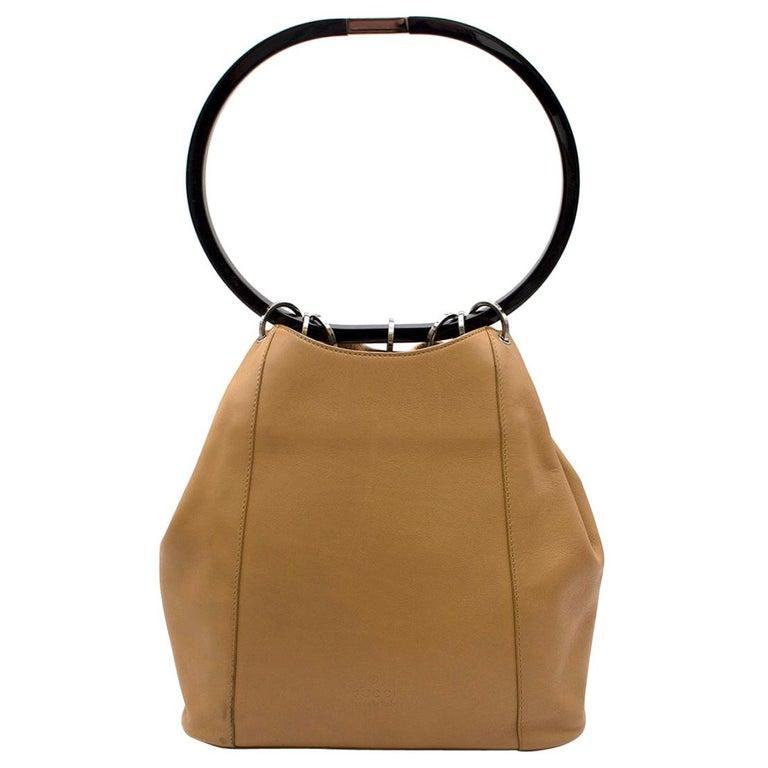 Gucci hoop-handle leather bucket bag For Sale