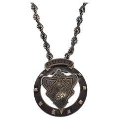 Gucci Horse Ascot Crest Motif Silver Pendant Necklace