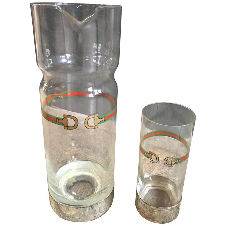 Gucci Horse Bit Decanter Set Barware 2pc Tall Pitcher and Cocktail Glass, 1970s For Sale