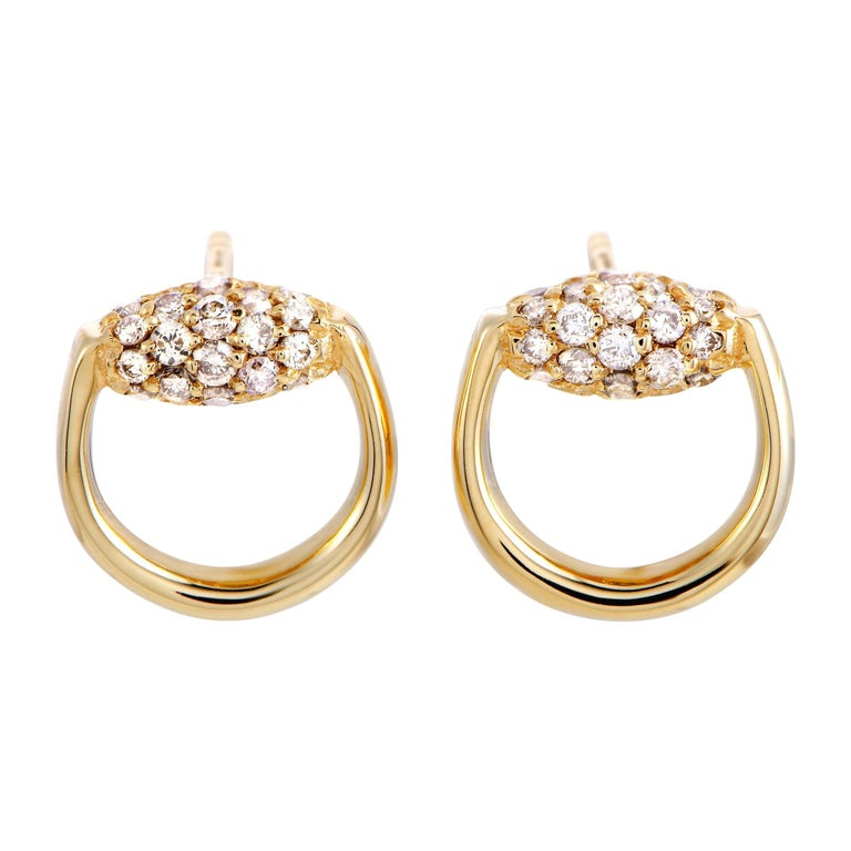Gucci Horsebit 18 Karat Yellow Gold Brown Diamond Stud Earrings At 1stdibs