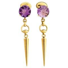 Gucci Horsebit Amethyst 18K Yellow Gold Spike Drop Earrings