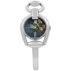 Gucci Horsebit Black Mother of Pearl Steel Quartz Ladies Bangle Watch YA139503