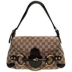 Gucci Horsebit Chain Brown GG Canvas Shoulder Bag
