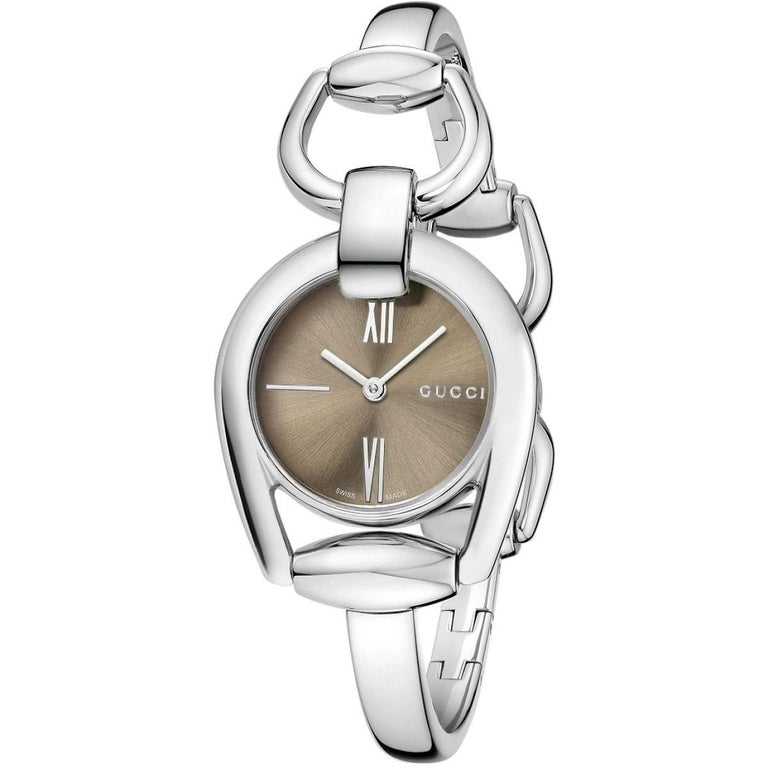 d3fc285f7ae202 Gucci Horsebit Collection Brown Dial Ladies Watch Item No. YA139501 For  Sale at 1stdibs