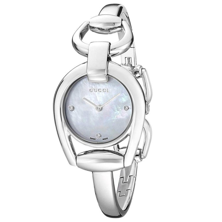 3733c906550268 Gucci Horsebit Collection Mother-of-Pearl Dial Steel Ladies Watch Item   YA139506 For