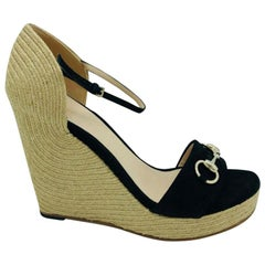 Gucci Horsebit-detailed espadrille wedges - Size 40 - Black suede