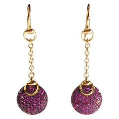 Gucci Horsebit Equestrian 18k Gold Cocktail Earrings with Pink Sapphires