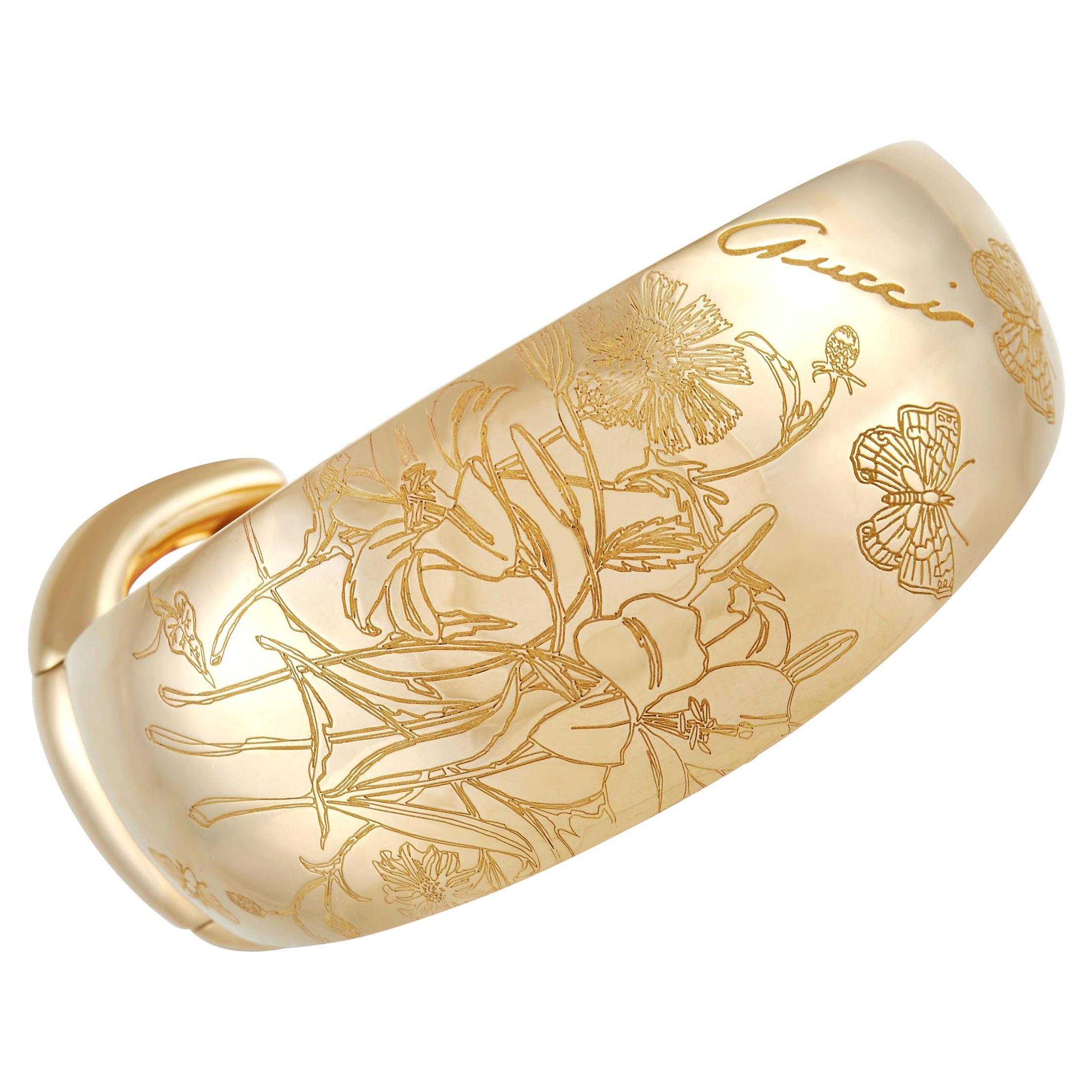 Gucci Horsebit Flora 18K Yellow Gold Coral Bracelet