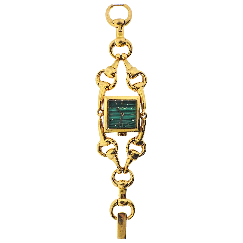 Gucci Horsebit Malachite Dial Gold Watch Bracelet