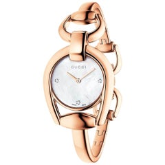 Gucci Horsebit Mother of Pearl Dial Rose Gold PVD Ladies Watch Item No. YA139508