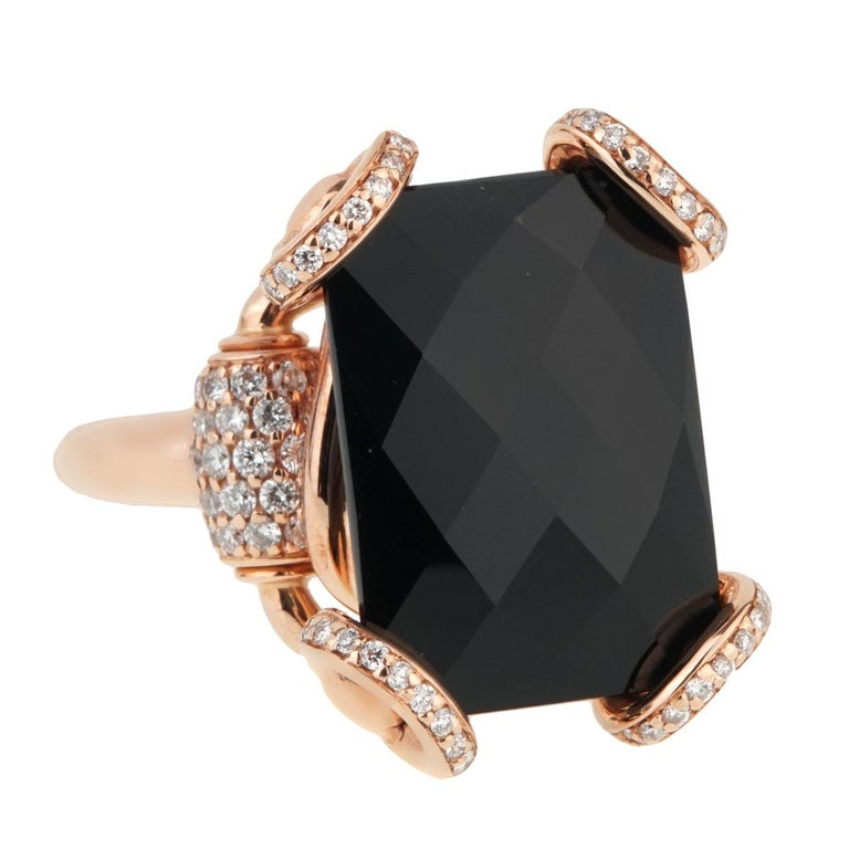 401b3f1eee1 Gucci Horsebit Onyx Diamond Rose Gold Ring For Sale at 1stdibs
