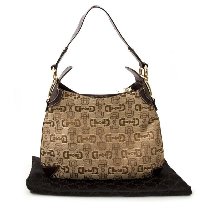 Brown Gucci Horsebit Print Bag