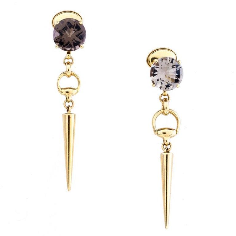 Contemporary Gucci Horsebit Quartz 18k Yellow Gold Spike Drop Non-identical Earrings For Sale