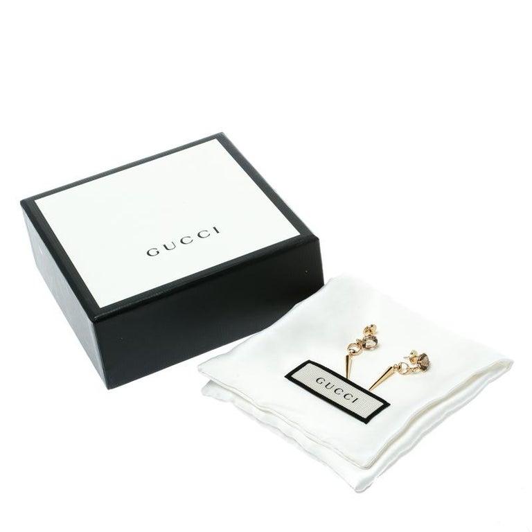 Gucci Horsebit Quartz 18k Yellow Gold Spike Drop Non-identical Earrings For Sale 2