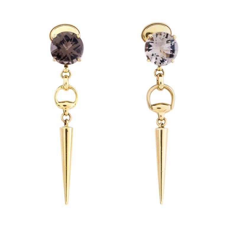 Gucci Horsebit Quartz 18k Yellow Gold Spike Drop Non-identical Earrings For Sale