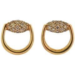Gucci Horsebit Gold Diamond Stud Earrings