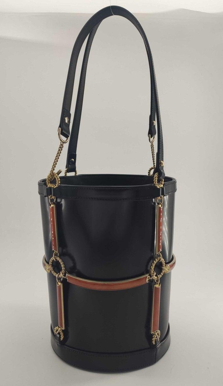 GUCCI Horsebit Shoulder bag in Black Leather For Sale 4