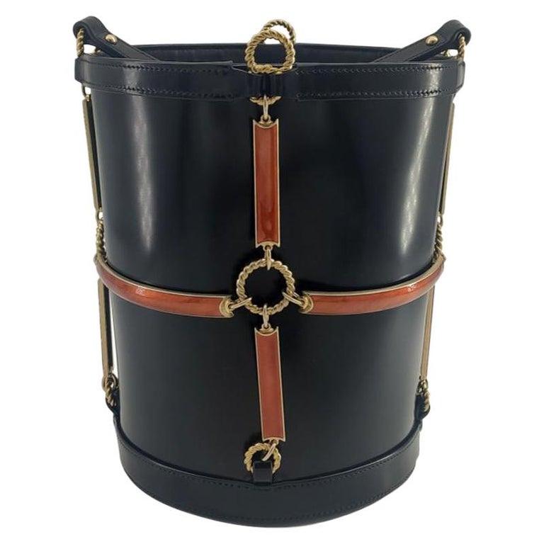 GUCCI Horsebit Shoulder bag in Black Leather For Sale