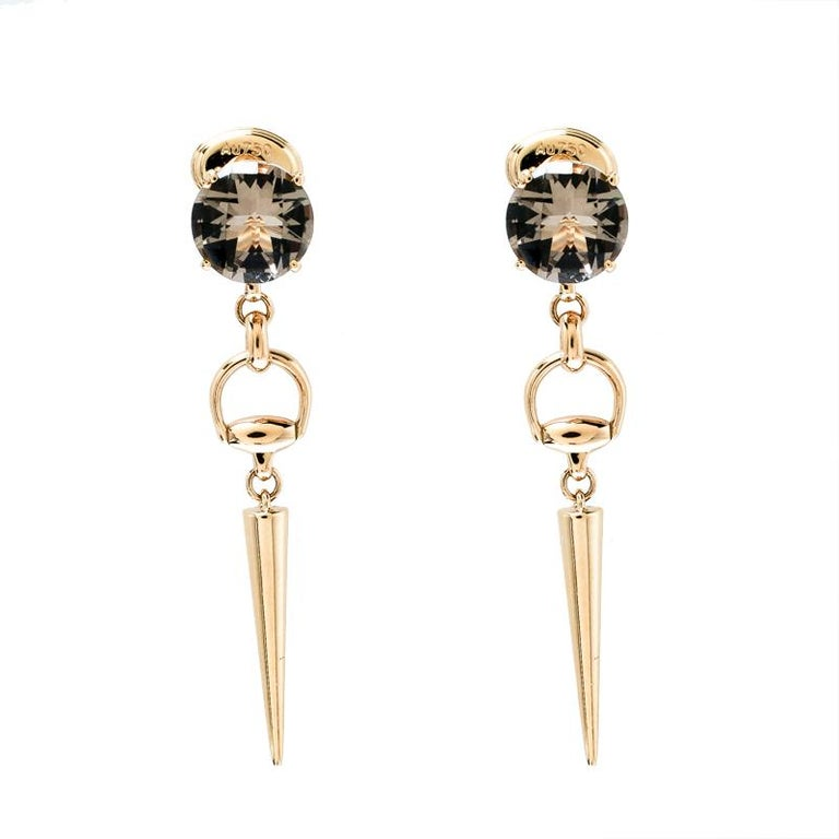 bc35f2a0 Gucci Horsebit Smoky Quartz 18k Yellow Gold Spike Drop Earrings