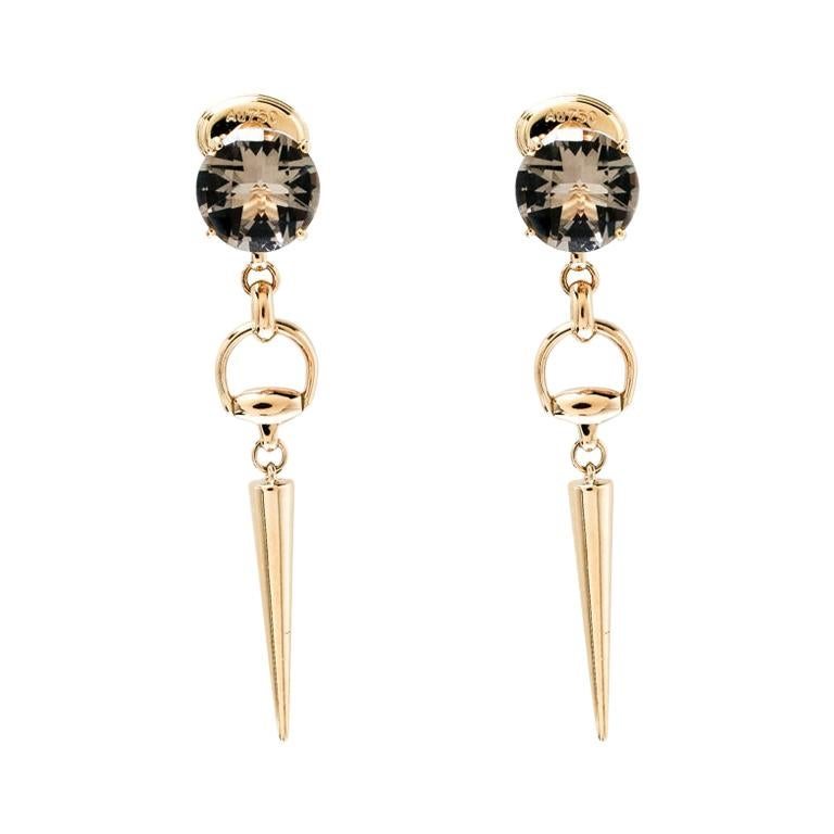 fe89d2d843015 Gucci Horsebit Smoky Quartz 18k Yellow Gold Spike Drop Earrings