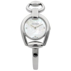 Gucci Horsebit Stainless Steel MOP Diamond Dial Quartz Ladies Watch YA139506