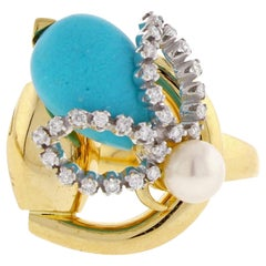 Gucci Horsebit Turquoise Diamond Pearl Yellow Gold Ring