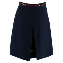 Gucci Horsebit Web Stripe Navy Button Detail Skirt XS