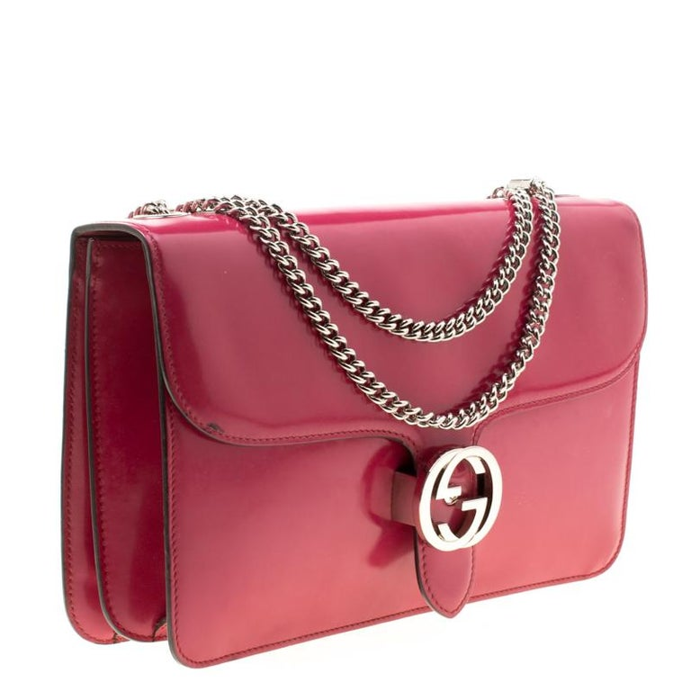 Gucci Hot Pink Patent Leather GG Interlocking Shoulder Bag For Sale 6