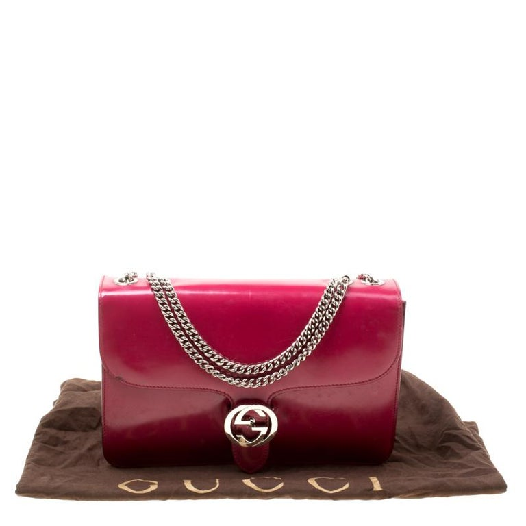 Gucci Hot Pink Patent Leather GG Interlocking Shoulder Bag For Sale 8