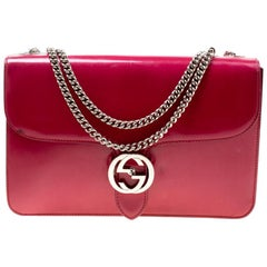 Gucci Hot Pink Patent Leather GG Interlocking Shoulder Bag