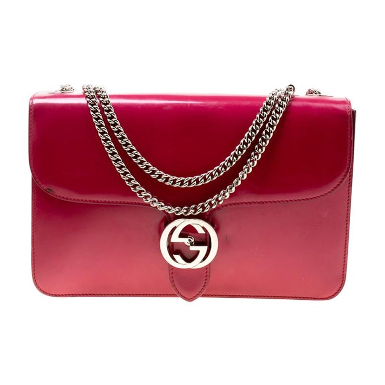 Gucci Hot Pink Patent Leather GG Interlocking Shoulder Bag For Sale