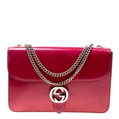 Gucci Hot Pink Patent Leather GG Interlocking Shoulder Bag