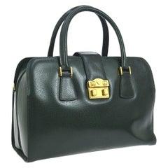 Gucci Hunter Green Leather Gold Top Handle Satchel Large Carryall Shoulder Bag