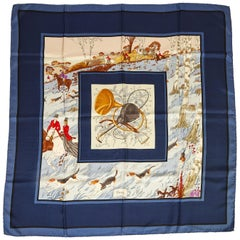 Gucci Hunting Dogs Silk Blue Scarf