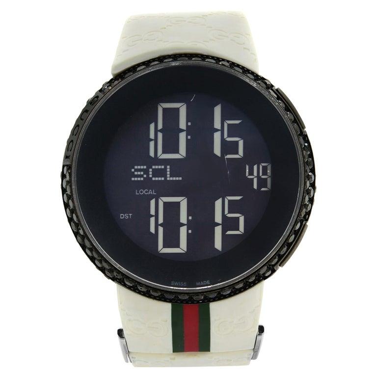 Gucci I-Gucci Custom Black Diamonds 6.5 Carat PVD Steel Unisex Watch YA114214 For Sale