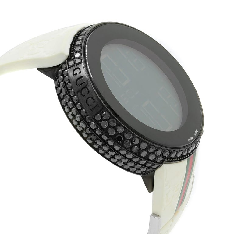 Gucci I-Gucci Custom Black Diamonds 6.5 Carat PVD Steel Unisex Watch YA114214 In Excellent Condition For Sale In New York, NY