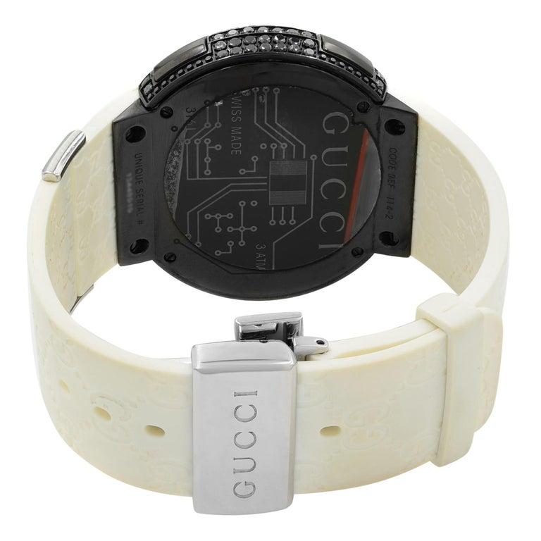 Women's or Men's Gucci I-Gucci Custom Black Diamonds 6.5 Carat PVD Steel Unisex Watch YA114214 For Sale