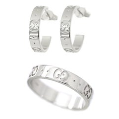 Gucci Icon 18 Karat White Gold Band Ring and Hoop Earring Set