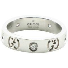 Gucci Icon Band Ring 18 Karat White Gold with Diamond