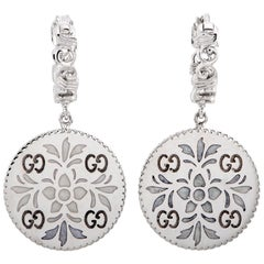 Gucci Icon Blooms 18 Karat White Gold and Enamel Earrings